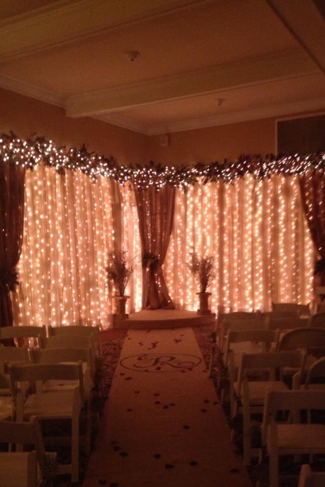 Wedding backdrop sheers burlap white lights wedding for Burlap lights
