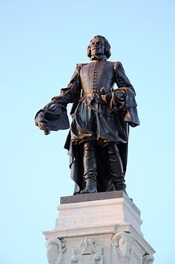 """Samuel de Champlain (August 13 1574 – December 25, 1635), """"The Father of New France"""", was a French navigator, cartographer, draughtsman, soldier, explorer, geographer, ethnologist, diplomat, and chronicler. He founded New France and Quebec City on July 3, 1608. He is important to Canadian history because he made the first accurate map of the coast and he helped establish the settlements."""