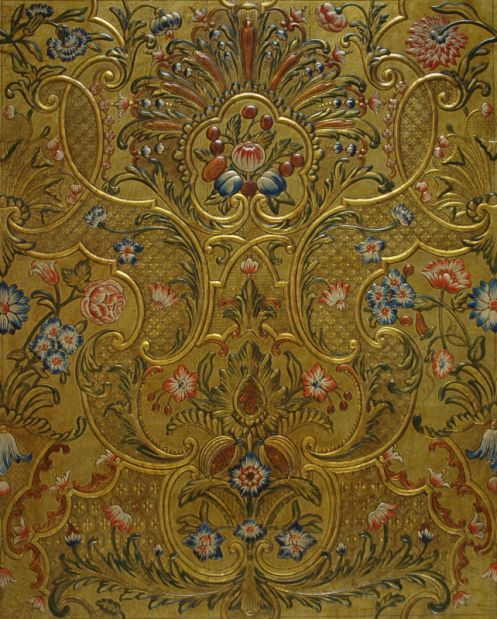 Embossed And Gilt Leather Panel With Polychrome Painting