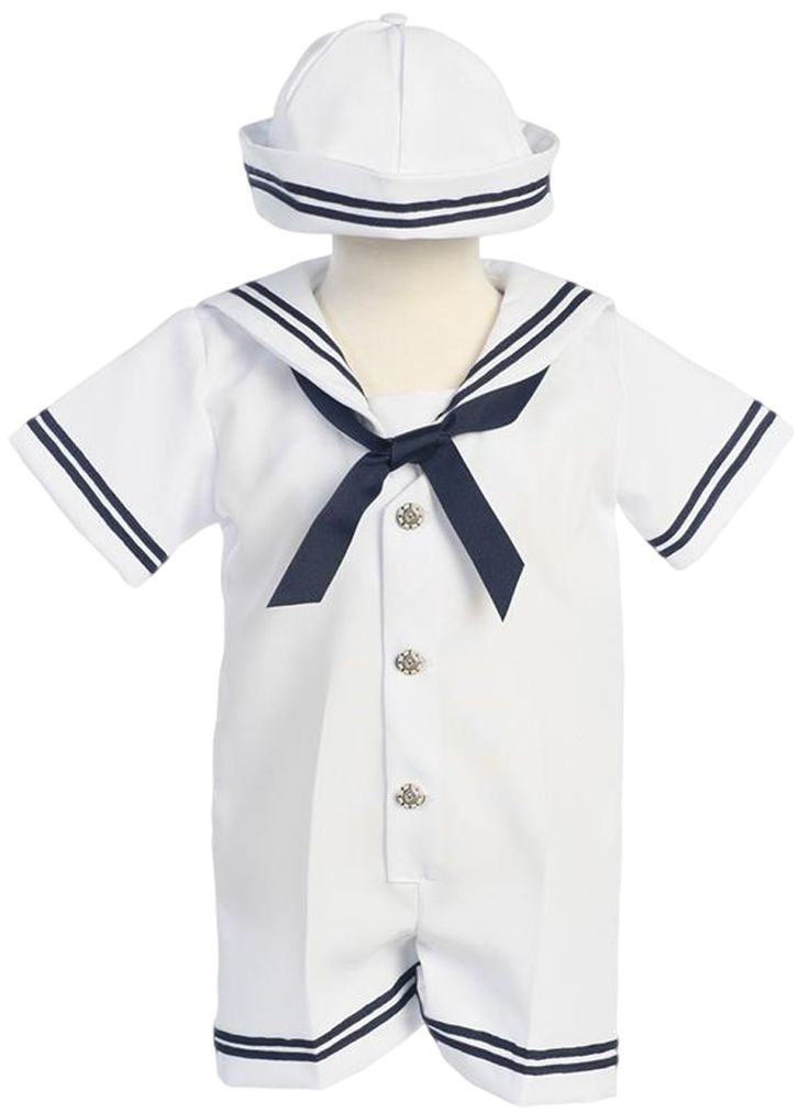 Classic Nautical Romper Outfit White Gabardine with Dixie Cup Style Sailor Hat (Baby Boys)