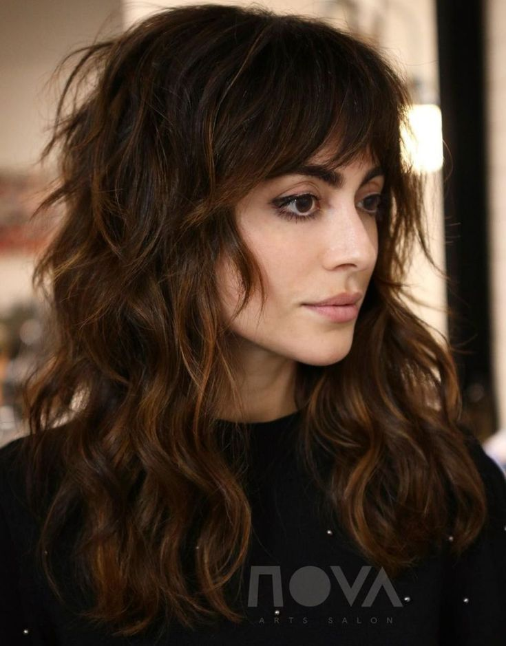 60 Lovely Long Shag Haircuts for Effortless Stylish Looks #8: Warm-Toned Wavy Br…
