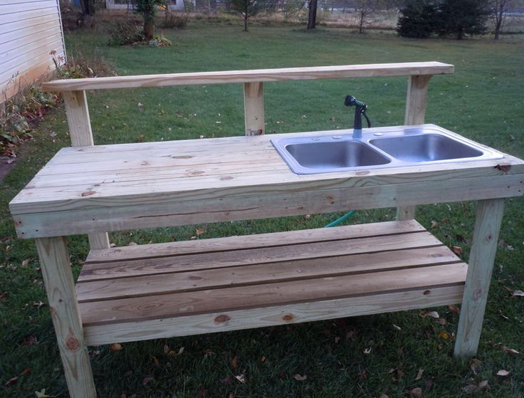 #shed #backyardshed #shedplans Outdoor Potting Bench With Sink Plans