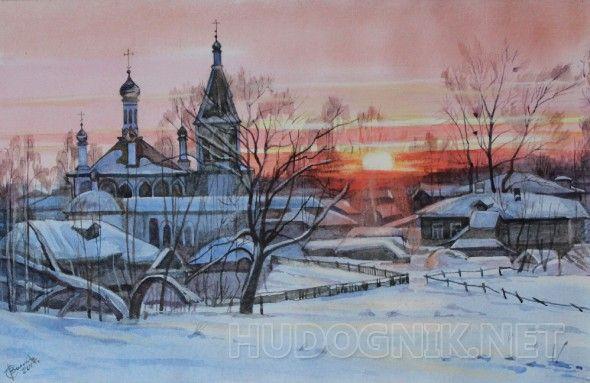 Зимний закат Картина написана в костромской деревне.Красота русской зимы впечатлила художника.