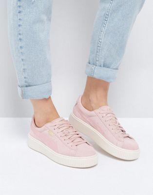 Puma Suede Satin Platform Sneakers in Pink