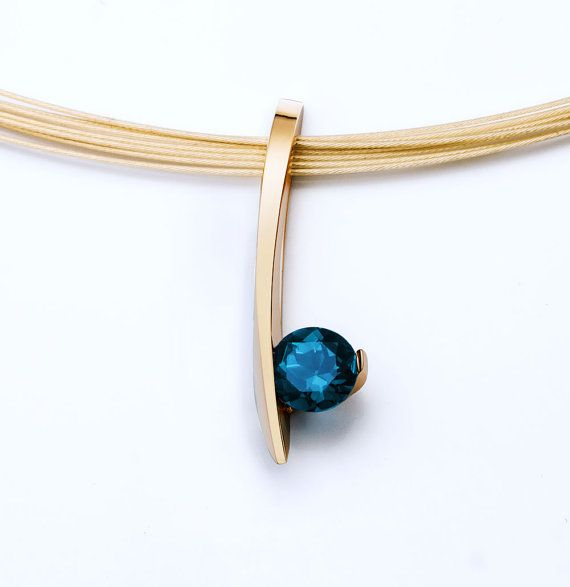 14k gold pendant - London blue topaz necklace - December birthstone - modern - fine jewelry - yellow gold - 3458
