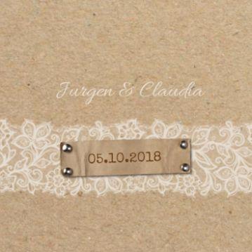 Klassieke trouwkaart karton met kant