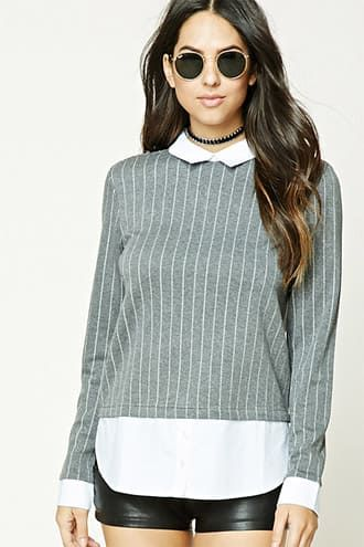 Collared Pinstripe Top