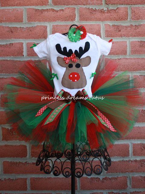 Santa's Little Helper Rudolph Tutu Outfit by PrincessDreamsTutus, Navidad, Elfos, animación infantil, fiestas, fiesta temática, juegos y canciones navideñas  www.fiestastempranito.com