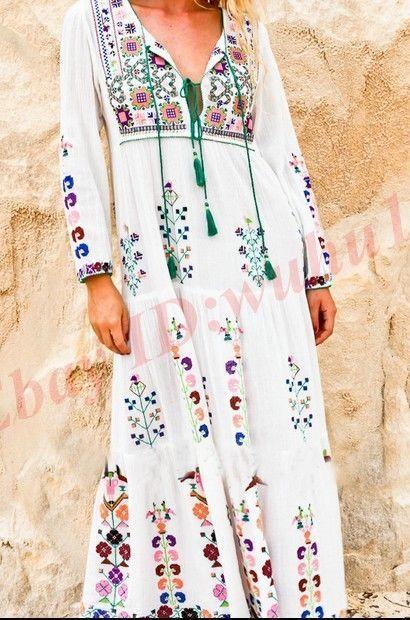 Hot Womens Ethnic Trend Long Sleeves Tassel Beach Full Length V-Neck Long Dress