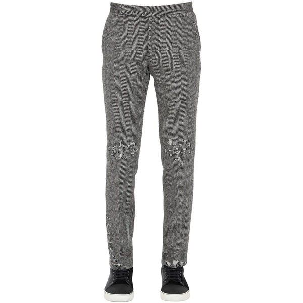 Palm Angels Men Skinny Fit Wool Herringbone Pants ($575) ❤ liked on Polyvore featuring men's fashion, men's clothing, men's pants, men's dress pants, mens skinny dress pants, mens skinny pants, mens wool dress pants, mens dress pants and mens wool pants