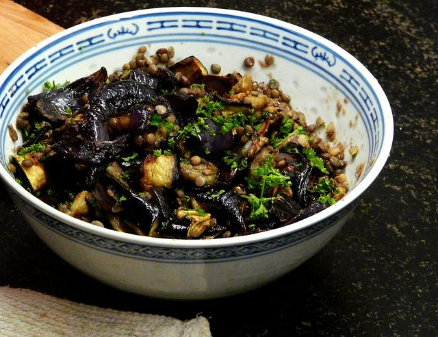 Puy Lentils with Aubergine & Red Onion. WW 5p. can be main dish with roasted Haloumi, fish, bread, or an egg.