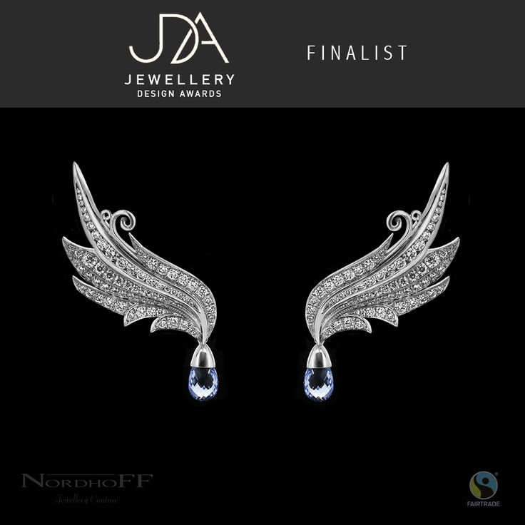 """I am excited to show you my earrings """"Take Flight"""" that were recently awarded as a finalist in the International Jewellery Design Awards competition.  Set with sparkling white Argyle diamonds and hand made using Fairtrade Silver."""