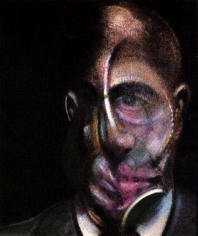 """Francis Bacon, Self Portrait, 1909-1992, peintre britannique, son œuvre se déploie en grands triptyques mettant en scène sa vie, ses inspirations comme à ses débuts, le surréalisme et Picasso. Autodidacte, il provoque un scandale en 45 par la violence expressive des corps tordus et disloqués de """"Trois études de figures au pied d'une crucifixion"""". Il prône que la violence doit résider dans la peinture elle-même, et non dans la scène."""
