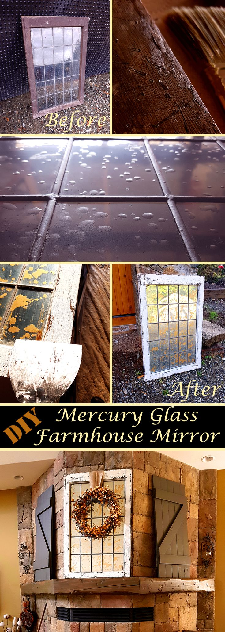 This Rustic Mercury Glass Mirror looks great on my Mantle!  Following this DIY, I gave an old salvaged window new life as a Farmhouse Mirror.  #rustic #decor #farmhouse #DIY #chippypaint #salvage #mercuryglass #project #design #homedecor #mantledecor   http://rusticreverence.com/