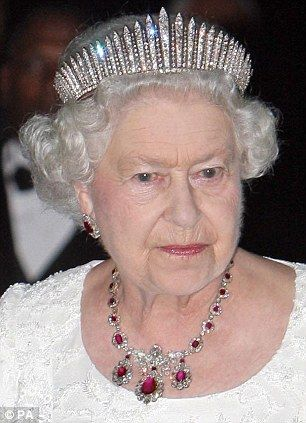 The Queen in the Queen Mary fringe tiara (which can also be worn as a necklace) was made for Queen Mary in 1919. It is not, as has sometimes been claimed, made with diamonds that had belonged to George III but re-uses diamonds taken from a necklace/tiara purchased by Queen Victoria from Collingwood & Co as a wedding present for Queen Mary in 1893. In August 1936, Queen Mary gave the tiara to her daughter in law Queen Elizabeth, wife of George VI.