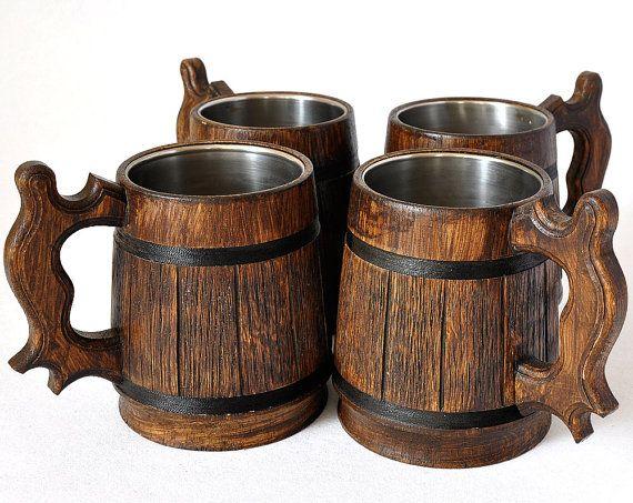 4 Wooden Beer mugs 0,5 l (17oz) , natural wood, stainless steel inside,groomsmen gift, beer tankard, german beer Stein, Dad gift (072)