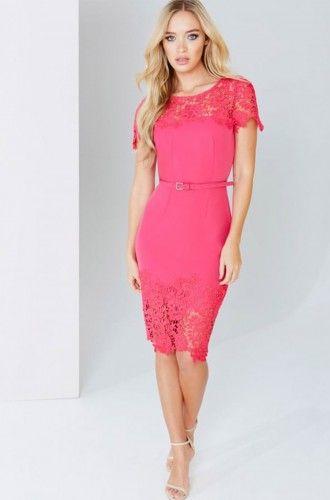 5864S2A Sukienka wizytowa #pinkdress #mididress #cocktaildress