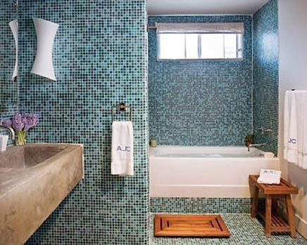 Frisse rustgevende mozaïek badkamer | Inrichting-huis.com