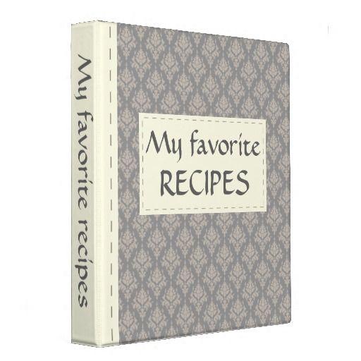 Gray Damask Recipe Binder