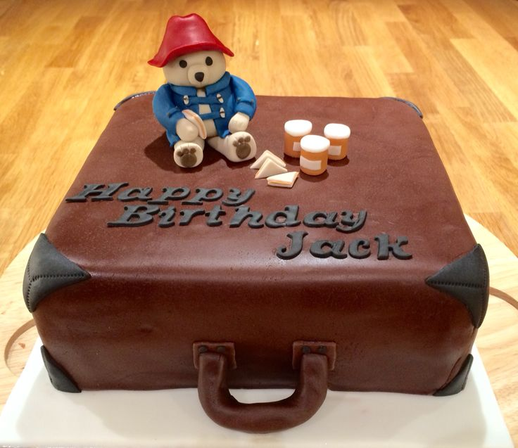 Paddington Bear suitcase birthday cake