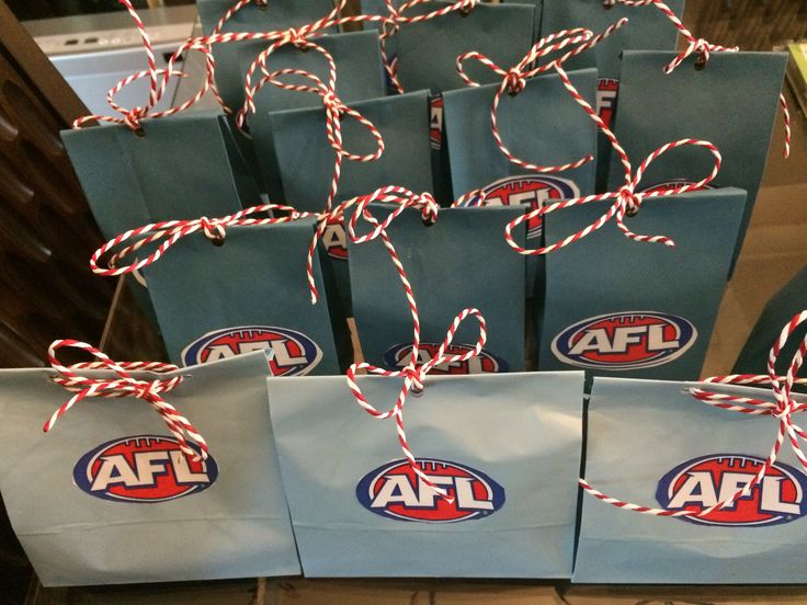 AFL Party Bags All you need is a blue paper bag. Printed, cut and glued AFL logo Hole punch Some string or ribbon to tie and wa-lah!