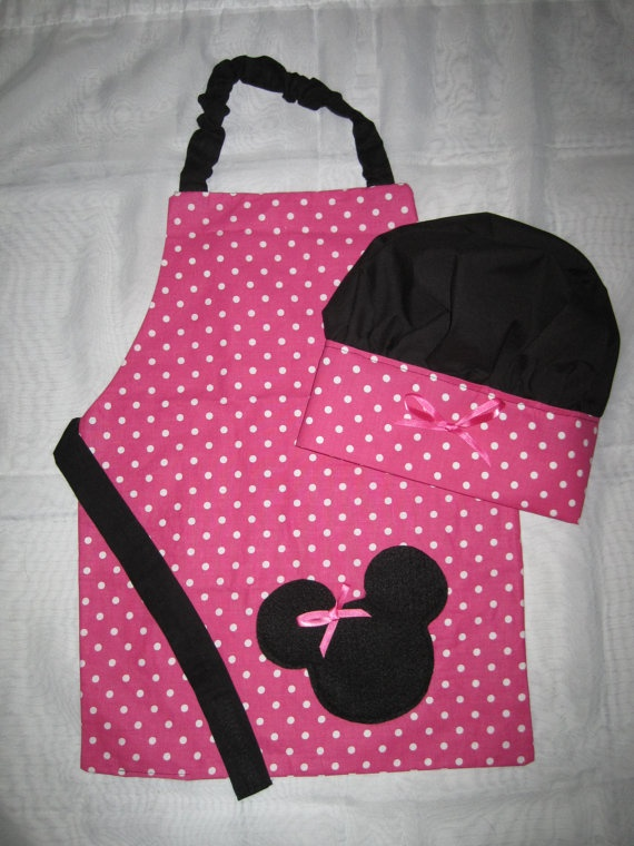 Apron and Chef Hat set  Minnie Mouse by MyDarlinDesigns on Etsy, $30.00