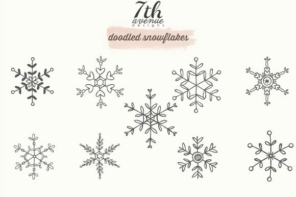 Doodled Snowflakes by 7th Avenue Designs on Creative Market