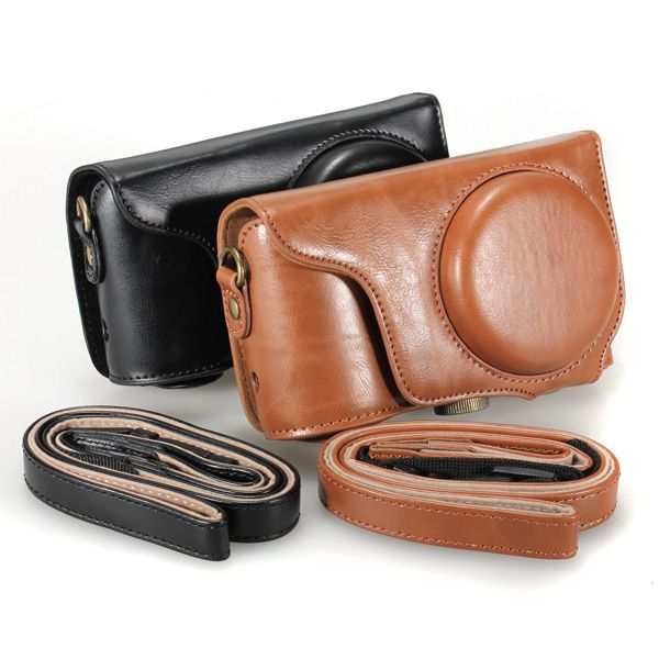 Leather Camera Case Bag For Samsung EK-GC100 GC100 With Strap