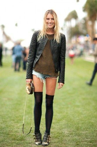 Dree Hemingway at Coachella: Chloe boots, Siwy shorts, an Isabel Marant top and a Dolce & Gabbana bag.
