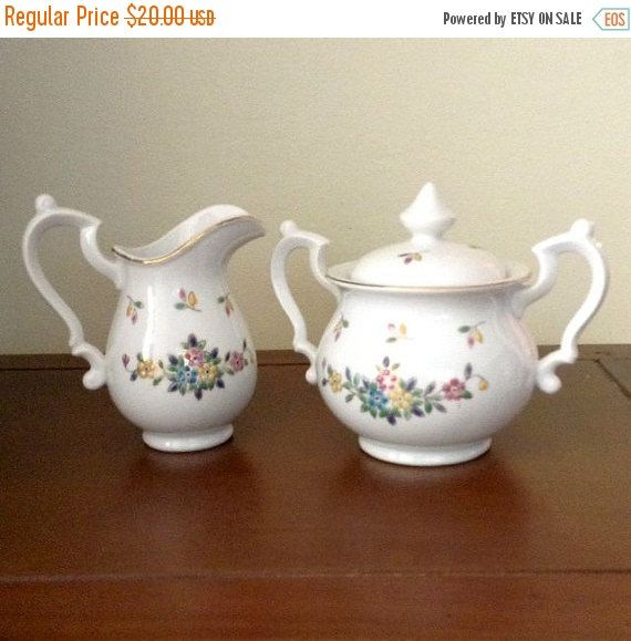 Sugar Bowl and Creamer  Vintage Hunt Hallmark Hand by Pastfinds