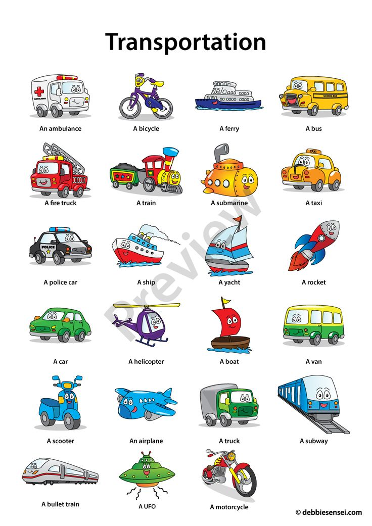 Debbie Sensei - Free ESL Transportation Flashcards
