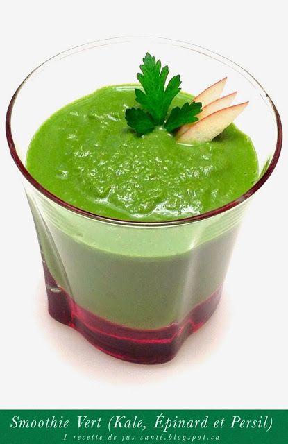 1 recette de kale: Smoothie Vert (Kale, Épinard et Persil)