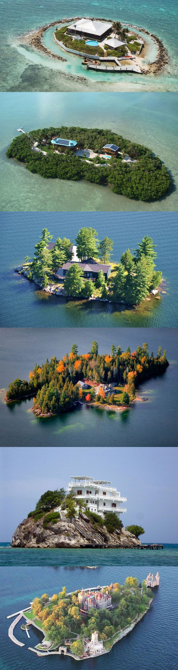 Homes built on private islands... All problems solved buy big island with bridge to mainland / docks / air strip / privite train to playwith / garages / shops / gated community.
