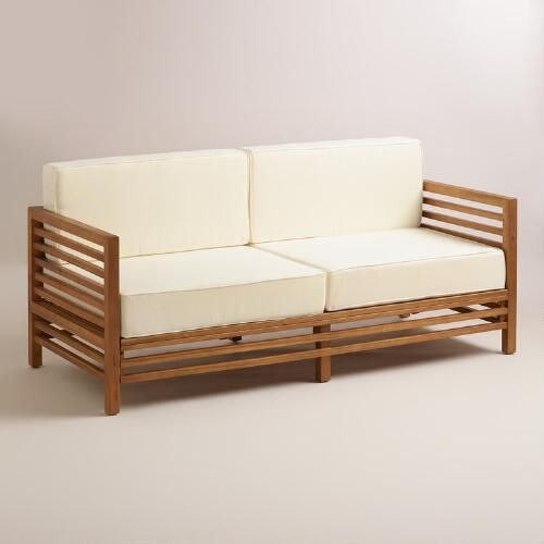 One of my favorite discoveries at WorldMarket.com: Wood Praiano Outdoor Occasional Bench $319 on sale
