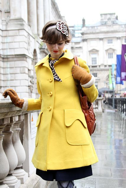 Delightful lemon Coat.  Love the over-sized pockets, the shape & the color #coat #yellow #fashion