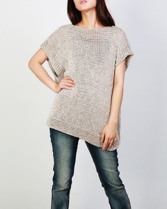 New design for this FALL/ WINTER! This beautiful and unique tunic sweater vest will make you stylish and on trend. It is made of 100% eco cotton yarn in a nice wheat color shade. No itch at all! It has unique trim pattern designed on top neckline, sides and bottom.   It is features on: 1. drop shoulder style 2. unique trim pattern designed on top neckline, sides and bottom. 3. rolled edge at neckline and hemline.  Other colors are coming up!  Size: S(us 0-4) M(us 6-8) L(us 10-12). Hand wash…