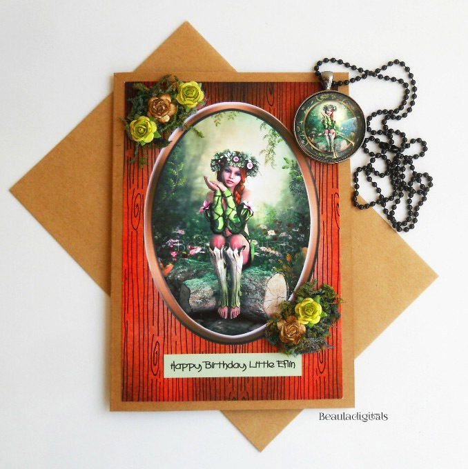 Woodland Elfin Happy Birthday Greeting Card and matching Pendant Necklace