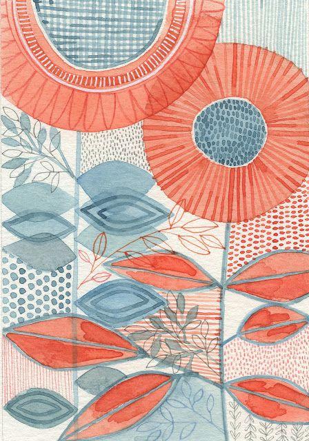 Susan Black - watercolour, botanical study, mid-century modern,