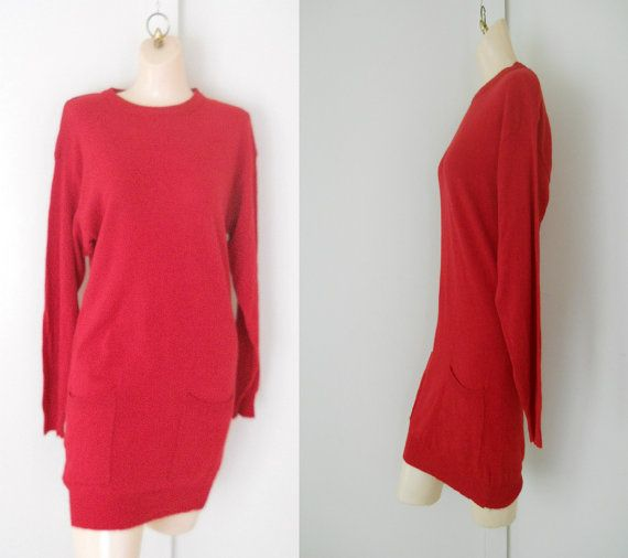 Long Sweater Dress Red Sweater Dress Extra Long by TheVilleVintage, $49.00
