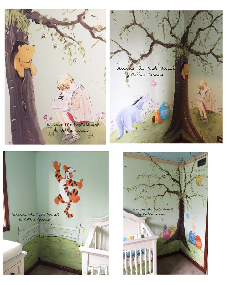 Winnie the Pooh mural for baby girl. Classic Winnie in tree, with Christopher reading, tigger jumping over fence. Adorable!