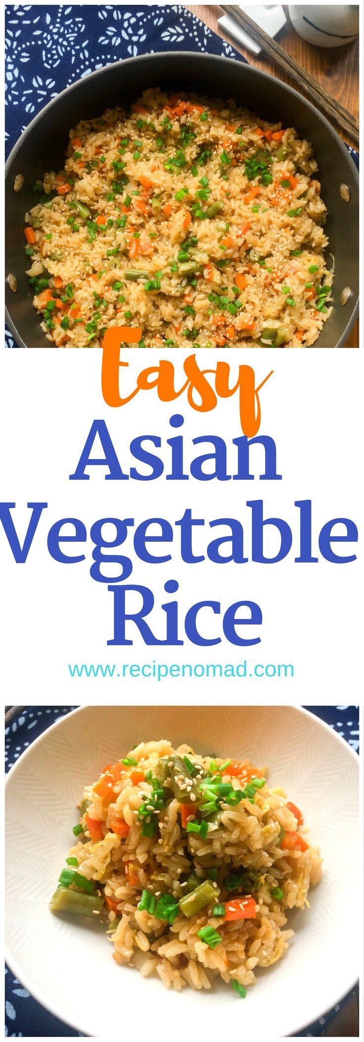 Asian Vegetable Rice  This Simply Delicious Asian Vegetable Rice is made with fresh onions, carrots, green beans, cabbage and ginger, but the recipe is delicious with any vegetables and even chicken!