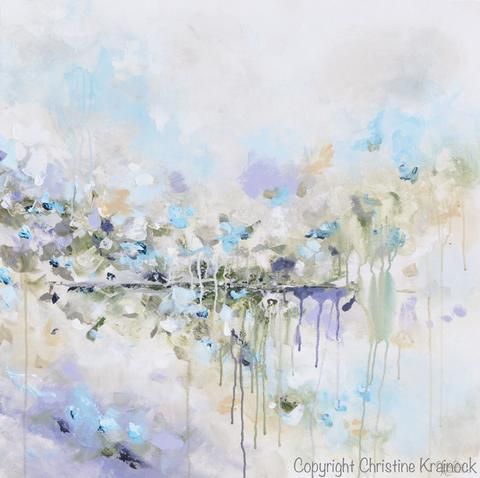 """""""Just Breathe II"""" Original Art Abstract Painting 30x30"""" Canvas Modern Large Art, Wall Art, Coastal Home Decor. textured, palette knife, abstract floral fine art with neutral muted shades of light turquoise blue, aqua, lavender, grey, taupe, beige, olive green & white. This piece is part of a diptych, set of 2 canvases which together total 60x30"""" hung. Gallery Fine Art Farmhouse Interior Design Contemporary Artist, Christine Krainock"""