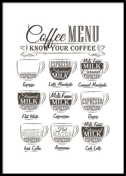 A nice kitchen print with a coffee menu. Perfect for the kitchen for a homey feeling, regardless of interior design. Almost a must have for the coffee lover. This stylish design looks very nice in print. Combine with more of our stylish kitchen art found in the category with the same name. www.desenio.com
