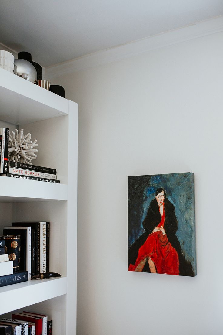 Shelf bookcases memorial wall displays antique white wall display - Red Dress Painting