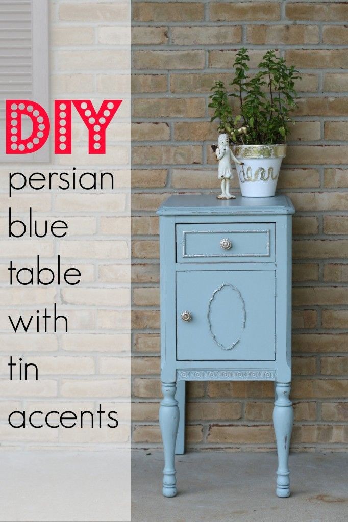 blue table with tin wax accents
