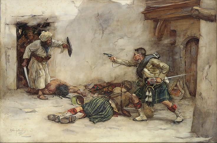 Drummer James Roddick of the Gordon Highlanders defends a wounded comrade, Second Anglo-Afghan War 1878-80.