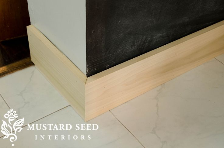 """install 6"""" pine boards for baseboards, paint white."""