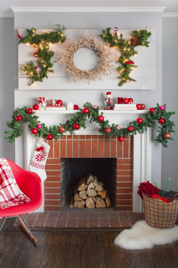 118 best images about christmas garland mantel ideas on for Christmas garland on fireplace