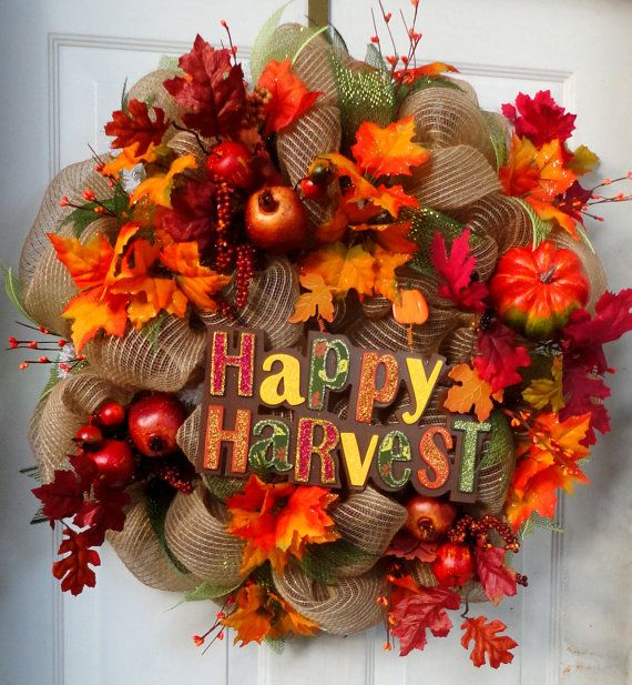 Fall Deco Mesh Wreath  Autumn Wreath  Fall by SparkleWithStyle,