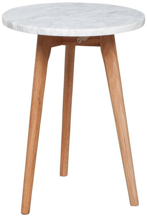 White Stone Sofabord - Ø32 - Zuiver har lavet dette sofabord i en kombination af moderne og naturlige materialer - marmor og eg. Bordet findes i tre forskellige størrelser, så der er et bord til både små og store stuer.
